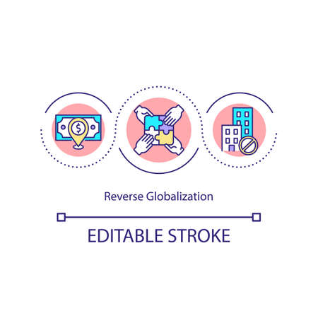 Reverse globalization concept icon. Integration of economies. Financial markets. Crisis. Negative growth overall idea thin line illustration. Vector isolated outline RGB color drawing.