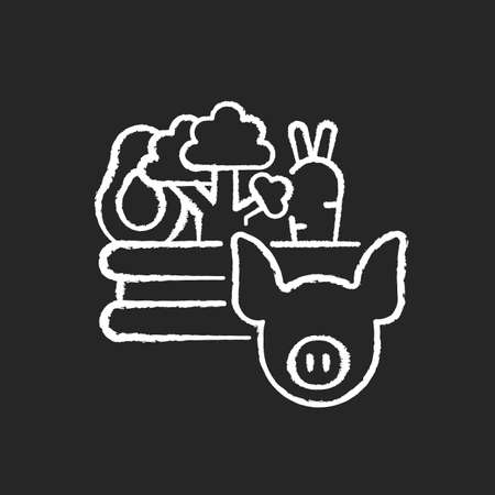Food and agriculture chalk white icon on black background. Agribusiness. Farming business. Livestock industry. Agricultural production and distribution. Isolated vector chalkboard illustration Ilustracja