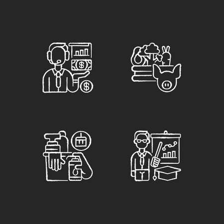 Basic public needs chalk white icons set on black background. Economic activity. Agribusiness. Hygiene products. Teachers. Financial operations. Isolated vector chalkboard illustrations