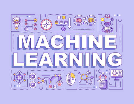 Machine learning word concepts banner. Algorithm processing. Computer science. Infographics with linear icons on purple background. Isolated typography. Vector outline RGB color illustration Ilustracja