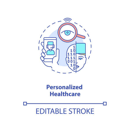 Personalized healthcare concept icon. Futuristic medical system. Smart hospital technologies. AI application idea thin line illustration. Vector isolated outline RGB color drawing. Editable stroke Ilustracja