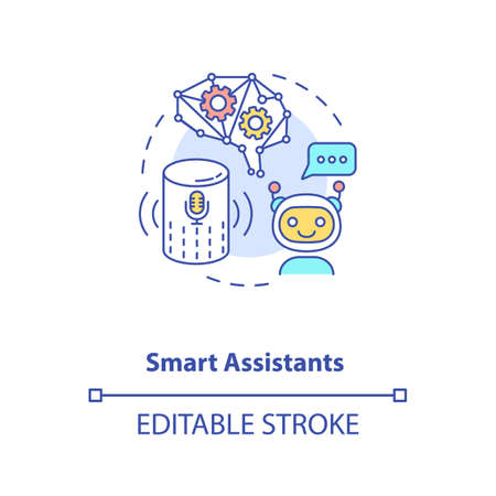 Smart assistants concept icon. Futuristic everyday helper device. Artificial brain. AI application idea thin line illustration. Vector isolated outline RGB color drawing. Editable stroke