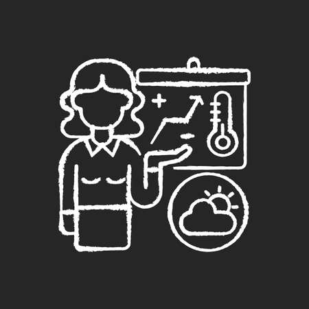 Weather forecasters chalk white icon on black background. Meteorologist. Atmosphere conditions. Barometric pressure. Temperature and precipitation. Isolated vector chalkboard illustration