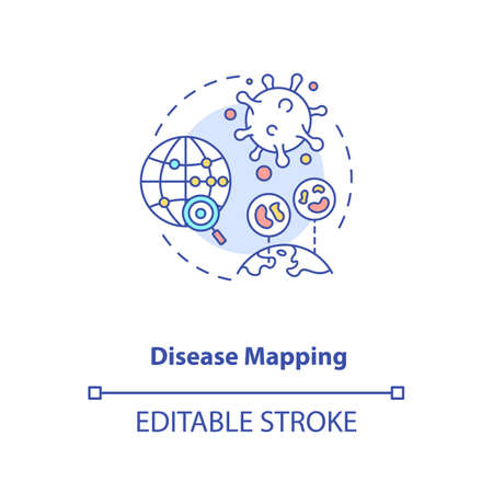 Disease mapping concept icon. Futuristic illness trackimg app. Smart technologies. AI application idea thin line illustration. Vector isolated outline RGB color drawing. Editable stroke