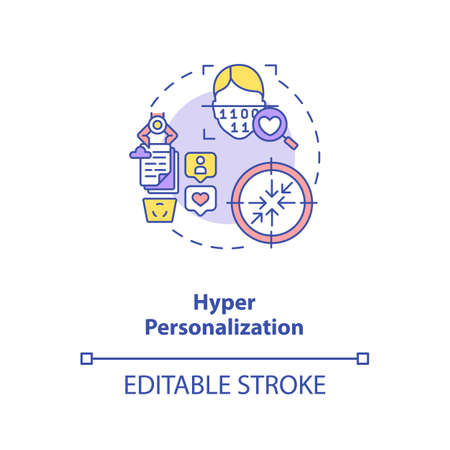 Hyper personalization concept icon. Interesting futuristic human devices. Identification method. AI in education idea thin line illustration. Vector isolated outline RGB color drawing. Editable stroke Illusztráció