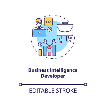Business Intelligence Developer concept icon. Creating technology. Futuristic mind manufacturing. Careers in AI idea thin line illustration. Vector isolated outline RGB color drawing. Editable stroke Ilustracja