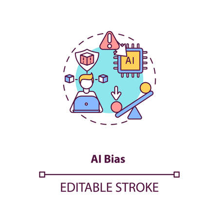 AI bias concept icon. Human mistake while programming smart computer. Future device problems. AI threats idea thin line illustration. Vector isolated outline RGB color drawing. Editable stroke Ilustracja