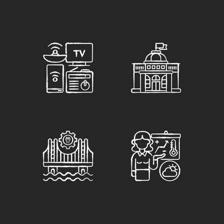 Core services chalk white icons set on black background. Electronic devices. Political power. Construction. Weather forecasters. Modern gadgets. Government. Isolated vector chalkboard illustrations
