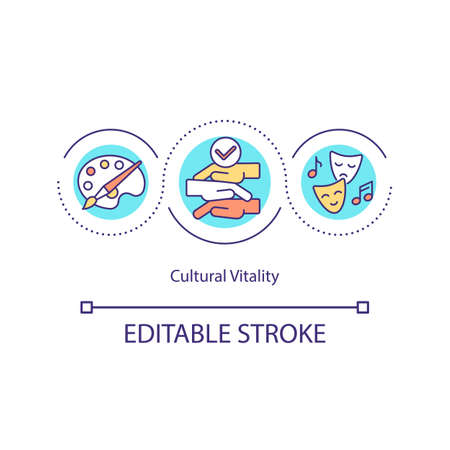 Cultural vitality concept icon. Supporting arts. Cultural activity people. Creating, disseminating, validating idea thin line illustration. Vector isolated outline RGB color drawing.