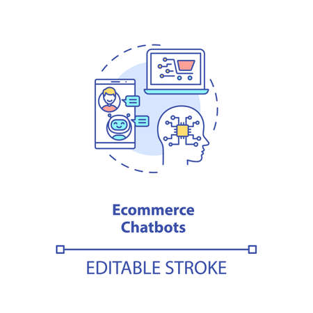 Ecommerce chatbots concept icon. Business inovational ideas. Smart selling field. AI application idea thin line illustration. Vector isolated outline RGB color drawing. Editable stroke 免版税图像 - 157811502