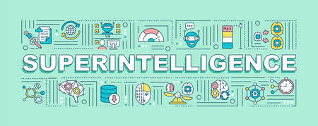 Superintelligence word concepts banner. Machine learning. Innovative technology. Infographics with linear icons on mint background. Isolated typography. Vector outline RGB color illustration Ilustracja