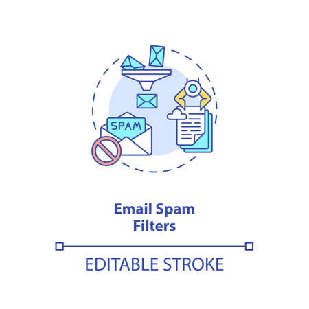 Email spam filters concept icon. Smart filtering technologies. Cyberspace safety. AI application idea thin line illustration. Vector isolated outline RGB color drawing. Editable stroke
