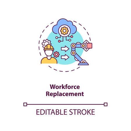 Workforce replacement concept icon. No working places for people. Money saving technologies. AI threats idea thin line illustration. Vector isolated outline RGB color drawing. Editable stroke