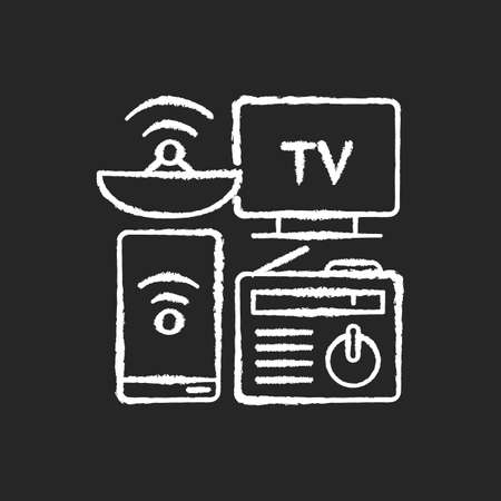 Mass media chalk white icon on black background. Electronic devices. Modern gadgets. TV, smartphone, radio. Digital media. Internet connection. Communication. Isolated vector chalkboard illustration