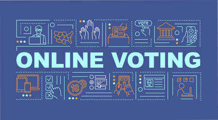 Online voting word concepts banner. Use internet for viting. E-voting. Infographics with linear icons on navy background. Isolated typography. Vector outline RGB color illustration
