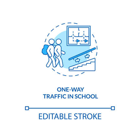 One-way traffic in school concept icon. Covid school safety rule idea thin line illustration. Uni-directional traffic. Safe route. Vector isolated outline RGB color drawing. Editable stroke Ilustracja