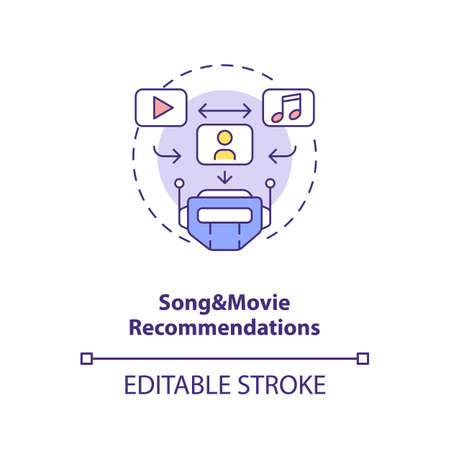 Song and movie recommendations concept icon. Future search engine. FUn time spending. AI application idea thin line illustration. Vector isolated outline RGB color drawing. Editable stroke