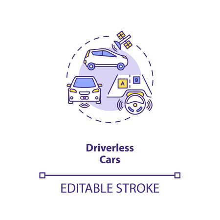 Driverless cars concept icon. Futuristic road safety. Computer controlled devices. AI application idea thin line illustration. Vector isolated outline RGB color drawing. Editable stroke 免版税图像 - 157811622