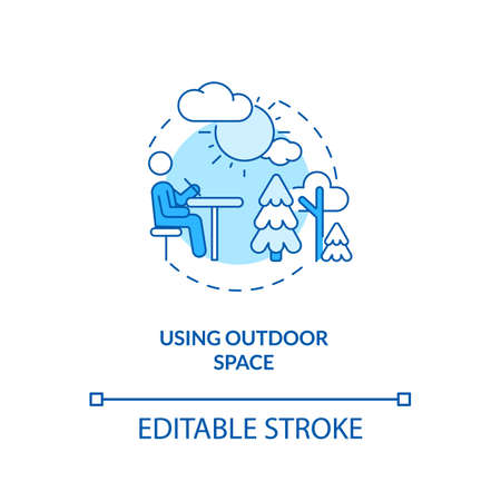 Using outdoor space concept icon. Covid school safety rule idea thin line illustration. Outdoor classes. Education in pandemic-era. Vector isolated outline RGB color drawing. Editable stroke