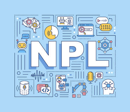NPL word concepts banner. Natural language processing. Innovative robot technology. Infographics with linear icons on blue background. Isolated typography. Vector outline RGB color illustration