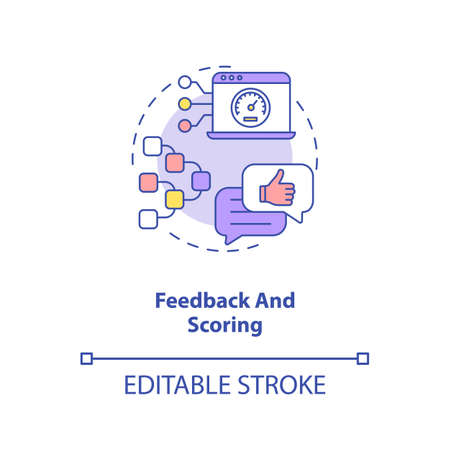 Feedback and scoring concept icon. Other people thoughts. Future internet raiting. AI in education idea thin line illustration. Vector isolated outline RGB color drawing. Editable stroke Ilustracja