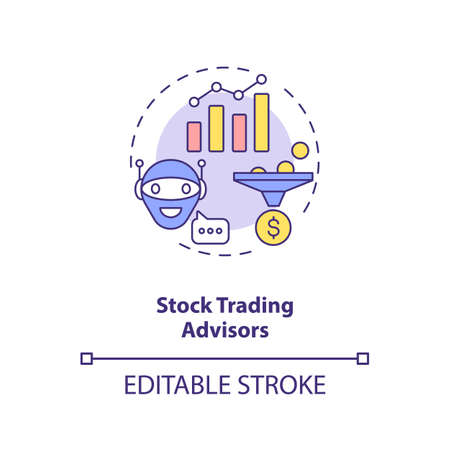 Stock trading advisors concept icon. Money earning futuristic system. Smart computer. AI application idea thin line illustration. Vector isolated outline RGB color drawing. Editable stroke