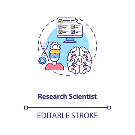 Research Scientist concept icon. Receiving information. Futuristic hot vacancies. Careers in AI idea thin line illustration. Vector isolated outline RGB color drawing. Editable stroke