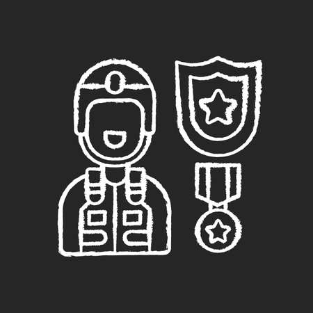 Defense industry chalk white icon on black background. Military officer. Armed forces. Weapons and military technology. Veteran. Protective equipment. Isolated vector chalkboard illustration