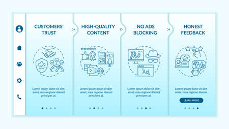 Influencer marketing advantages onboarding vector template. High-quality content. Honest feedback. Responsive mobile website with icons. Webpage walkthrough step screens. RGB color concept