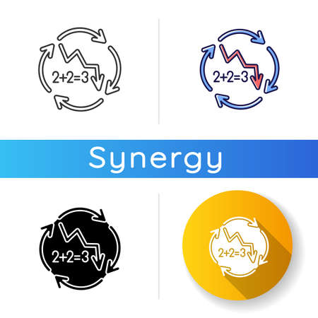 Negative synergy icon. Decline in financial figures. Decrease in stock numbers. Economic failure. Arrow down. Recession in economy. Linear black and RGB color styles. Isolated vector illustrations 向量圖像