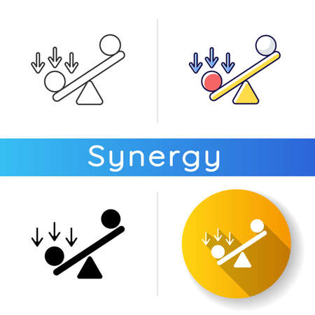 Synergy bias icon. Unbalanced scale with spheres. Advantage and disadvantage on scale. Competitive struggle, overweight in balance. Linear black and RGB color styles. Isolated vector illustrations