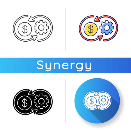 Cost synergy icon. Business financial operation. Enterprise profit. Work value. Plan marketing strategy. Operation and performance. Linear black and RGB color styles. Isolated vector illustrations Ilustracje wektorowe