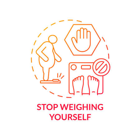 Stop weighing yourself concept icon. Body positivity thinking. Smash your scale. Abandon writing weight statistics history idea thin line illustration. Vector isolated outline RGB color drawing