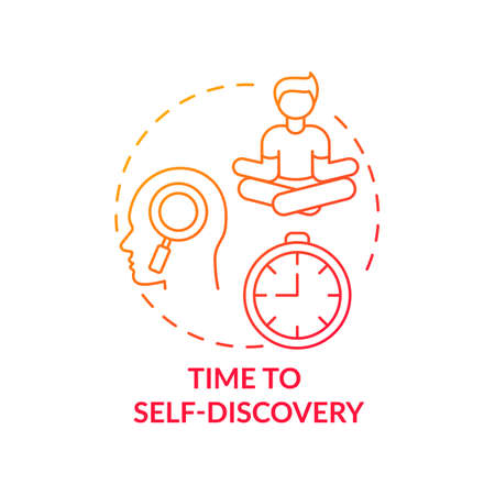 Time to self discovery concept icon. Me time benefits. Mental health improvement tutorial for everyone. Focusing on your mind idea thin line illustration. Vector isolated outline RGB color drawing 矢量图像