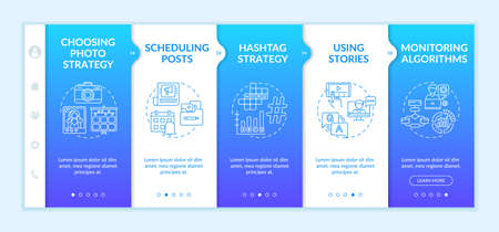 Becoming nanoinfluencer recommendations onboarding vector template. Scheduling posts. Monitoring algorithms. Responsive mobile website with icons. Webpage walkthrough step screens. RGB color concept