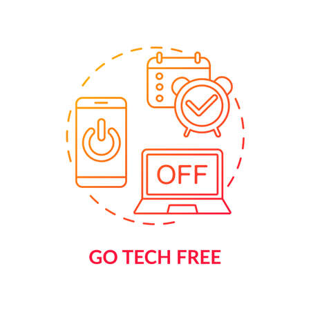 Go tech free concept icon. Me time ideas. Day without digital life. No phones and computers. Free technology day idea thin line illustration. Vector isolated outline RGB color drawing