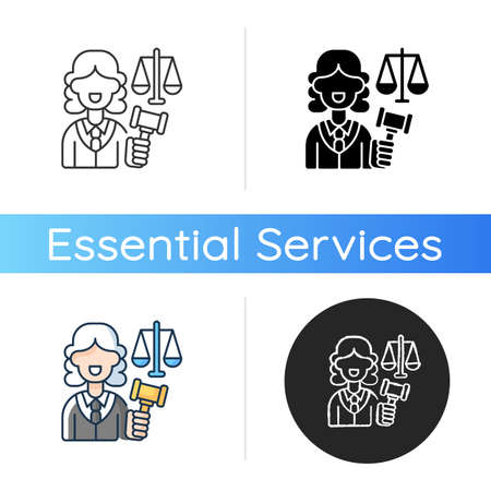 Justice sector icon. Judiciary. Legitimacy. Court. Judicial reform. Practising lawyers. Executive and legislature power. Linear black and RGB color styles. Isolated vector illustrations