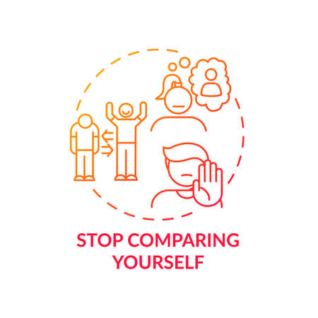 Stop comparing yourself concept icon. Body health positivity improvement tips. Loving yourself and your body. Special people idea thin line illustration. Vector isolated outline RGB color drawing