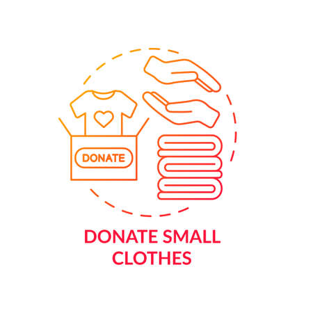 Donate small clothes concept icon. Body positivity tips. Giveaway old things you do not need at all. Waste reducing idea thin line illustration. Vector isolated outline RGB color drawing