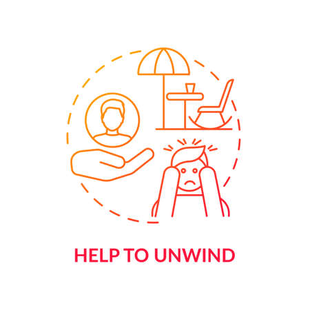 Help to unwind concept icon. Me time benefits. Refresh your brain tips for everyday. Free your mind and relax body idea thin line illustration. Vector isolated outline RGB color drawing 矢量图像