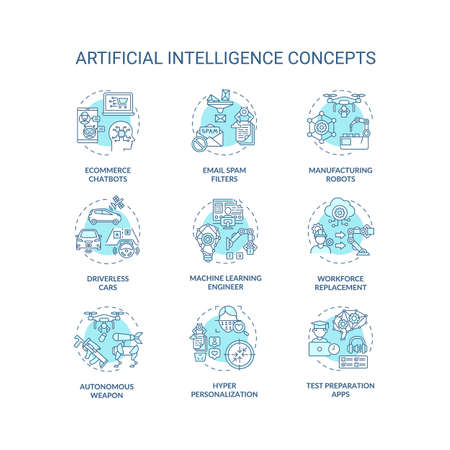 Artificial intelligence concept icons set. Email spam filters. Manufacturing robots. Future technologies idea thin line RGB color illustrations. Vector isolated outline drawings. Editable stroke 向量圖像