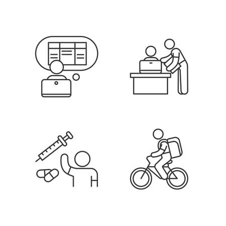 Part-time jobs linear icons set. Data entry clerk. Personal assistant. Clinical trial volunteer. Customizable thin line contour symbols. Isolated vector outline illustrations. Editable stroke