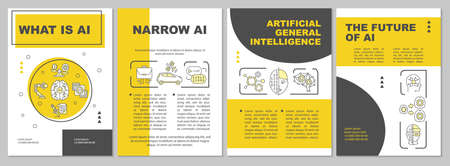 AI brochure template. Artificial intelligence. Innovative system. Flyer, booklet, leaflet print, cover design with linear icons. Vector layouts for magazines, annual reports, advertising posters 向量圖像