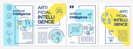 Artificial intelligence technology brochure template. Flyer, booklet, leaflet print, cover design with linear icons. Vector layouts for magazines, annual reports, advertising posters