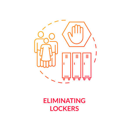 Eliminating lockers concept icon. Covid school safety rule idea thin line illustration. Reducing risks. Keeping distance. Social distancing efforts. Vector isolated outline RGB color drawing Иллюстрация