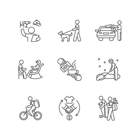 Employment opportunities linear icons set. Restaurant host and hostess. Dog walker. Car washer. Barista. Customizable thin line contour symbols. Isolated vector outline illustrations. Editable stroke
