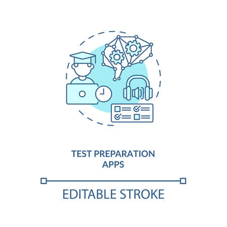 Test preparation apps concept icon. Future university way of learning. Smart learning systems. AI in education idea thin line illustration. Vector isolated outline RGB color drawing. Editable stroke