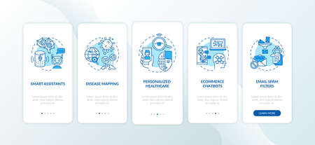 AI application onboarding mobile app page screen with concepts. Disease mapping computer inovation walkthrough 5 steps graphic instructions. UI vector template with RGB color illustrations