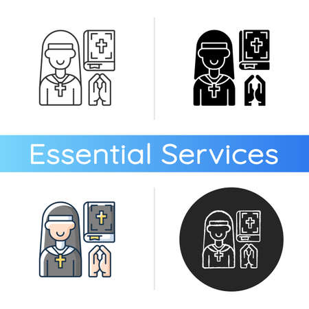 Clergy icon. Spiritual leaders. Religious duties. Church. Formal leaders within established religions. Specific rituals. Linear black and RGB color styles. Isolated vector illustrations Foto de archivo - 157904227