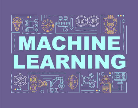 Machine learning technology word concepts banner. Computer science. Innovative tech. Infographics with linear icons on purple background. Isolated typography. Vector outline RGB color illustration